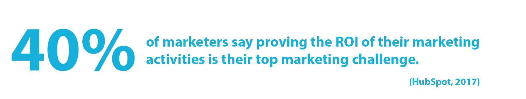 Statistic: 40% of marketers say proving the ROI of their marketing activities is their top marketing challenge. (HubSpot, 2017)